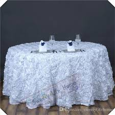 3d satin rosette table cloths encryption wedding rose table cover tablecloths white 305cm round cloth 108 round tablecloth cotton tablecloth from