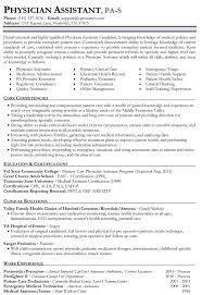Physician Assistant Resume Template 62 Images Sample Of A