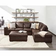 leather sectional couches. Alandro Brown Top Grain Leather Sectional With Pull-out Bed And Storage Ottoman Couches