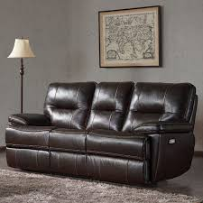 a 3 seater brown leather power recliner sofa