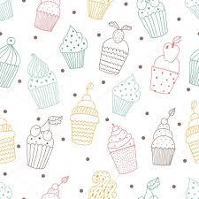 Seamless Pattern With Cute Cupcakes Stock Vector Vyazovskaya