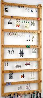 126 pair hanging earring holder jewelry organizer oak wood necklace display 8 pegs wall mounted jewelry holder