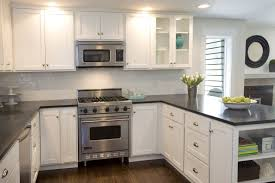 White Cabinets Dark Countertops Minus The Cabinet With The Glass