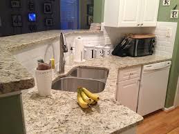 Kitchen Remodel Granite Countertops New Giallo Ornamental Granite Countertops And Beveled Subway Tile