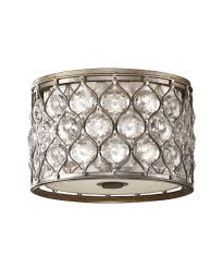 modern lighting flush mount. shown in burnished silver finish and beigefabric glass modern lighting flush mount