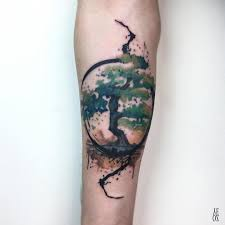 Watercolour Tattoo With Tree And Circle