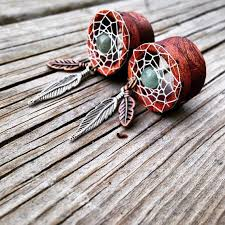 Dream Catcher Tunnels Bohemian DreamCatcher Tunnels for Stretched Ears Sizes 100100 39