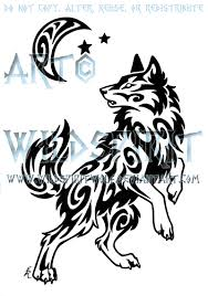 tribal wolf and moon drawing. Simple And Windy Swirl Wolf And Moon Tattoo By WildSpiritWolf  For Tribal Drawing W