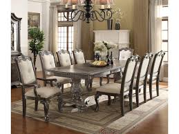 Crown Mark Kiera Traditonal Dining Table Set With 2 Arm Chairs And 6