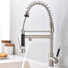 Zimtown Modern Copper Double Handle Pull Down Sprayer Spring Brushed Nickel Kitchen Faucet Kitchen Sink Faucet