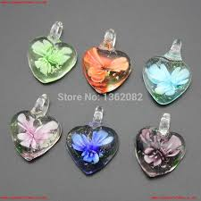 hot ing 12pcs lot charming noctilucent heart lampwork glass pendants flower murano glass charms for necklace earrings mc29