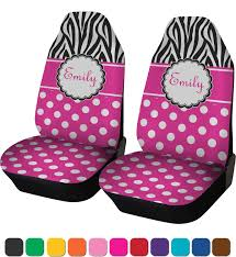 zebra print polka dots car seat covers set of two personalized