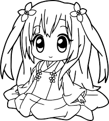 Small Picture Very Cute Anime Girl Coloring Page Wecoloringpage