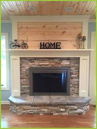 stack stone fireplace. Fireplace Decor Stone Ideas Appealing Update With Stacked Painted Wood And Knotty Stack