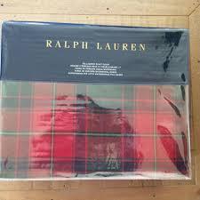 ralph lauren norfolk tristan plaid full queen duvet cover red green cotton