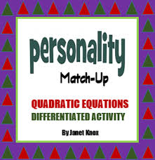 quadratic equations algebra activity personality match up two levels