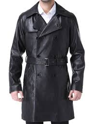 airborne leathers mens goatskin leather trench coat celebrity cool long coat