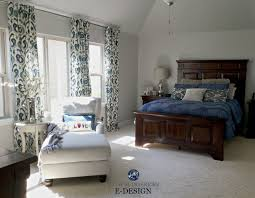 Sherwin Williams Repose Gray, Master Bedroom With Dark Cherry Wood  Furniture, Navy Blue, White And Red Accents. Kylie M E Design And Online  Color Consulting ...