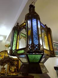 antique stained glass moroccan lantern light