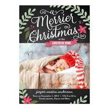 Merrier Christmas Birth Announcement Holiday Card Invitation Card