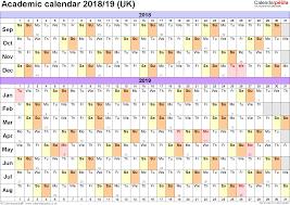 Academic Calendars 2018 2019 As Free Printable Word Templates