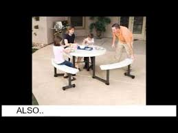 lifetime round picnic table and benches 44 inch top almond