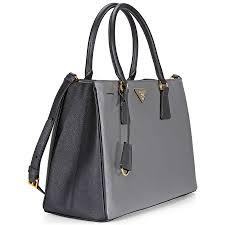 prada lux saffiano leather tote mercury and black