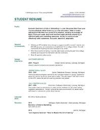 Resume Sample College Student Musiccityspiritsandcocktail Com