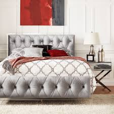 Anya King-size Velvet Button Tufted Acrylic Headboard and Bed by iNSPIRE Q  Bold (Gold Velvet Headboard Only), Clear