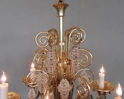beaded 20th century french art deco bronze and glass chandelier by glass artist sabino for