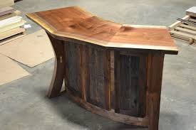 corner curved mini bar. Live Edge Walnut And Reclaimed Curved Bar / Reception Desk Corner Mini