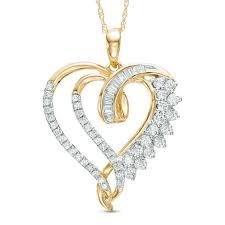 t w baguette and round diamond double heart swirl pendant in 10k