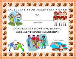 Kids Award Certificate Excellent Sportsmanship Award Certificate Kids Will Love It Tpt