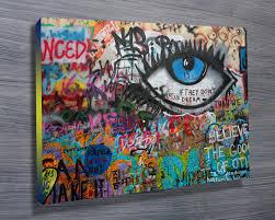 the eye graffiti wall art