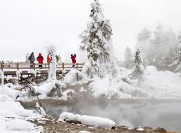 yellowstone visitors at leather pool in winter
