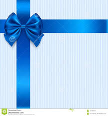 Blue Ribbon Design Vector Greeting Card Design With Blue Bow And Ribbon