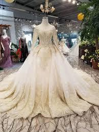 Latest Wedding Gown Designs Luxury Dubai Wedding Gowns Glitter O Neck Long Sleeve Shiny Lace Flowers Wedding Dresses Long Train Latest 2019 New Beaded Wedding Gown Designer
