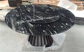 high quality iran black marble top wood base round dining table