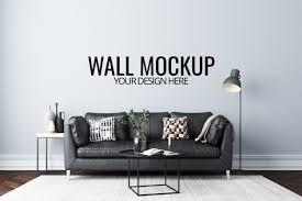 premium psd wall mockup in white