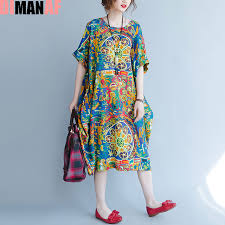 Plus Size Dress Patterns Adorable DIMANAF Plus Size Women Summer Dress Pattern Print Linen Female