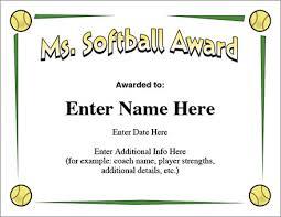 softball award certificate ms softball award certificate template fast pitch and slow