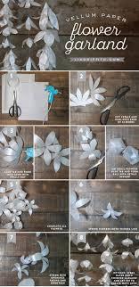 White Paper Flower Garland White Vellum Paper Flower Garland Wedding Decorations Pinterest