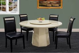 5pc contemporary design ivory round marble dining table lazy susan 4 side chairs