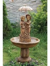 2 girls under umbrella water feature