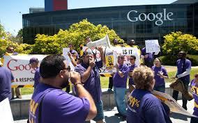tech s low wage workers disrupt the disruptors al jazeera america