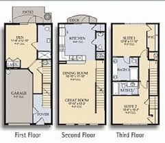 2 Bedroom Apartment Building Floor Plans With Three Story Condo S Three Story Floor Plans