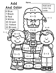 christmas addition coloring worksheets first grade math activities ...