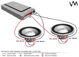 subwoofer wiring diagrams throughout sub techrush me dvc sub wiring diagram two 4 ohm dvc subs bridged channel amp 2 x load in sub wiring diagrams