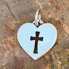 James Avery Sterling Silver Cross and Heart Charm Pendant - Yourgreatfinds
