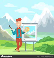 male painter with color palette stock vector